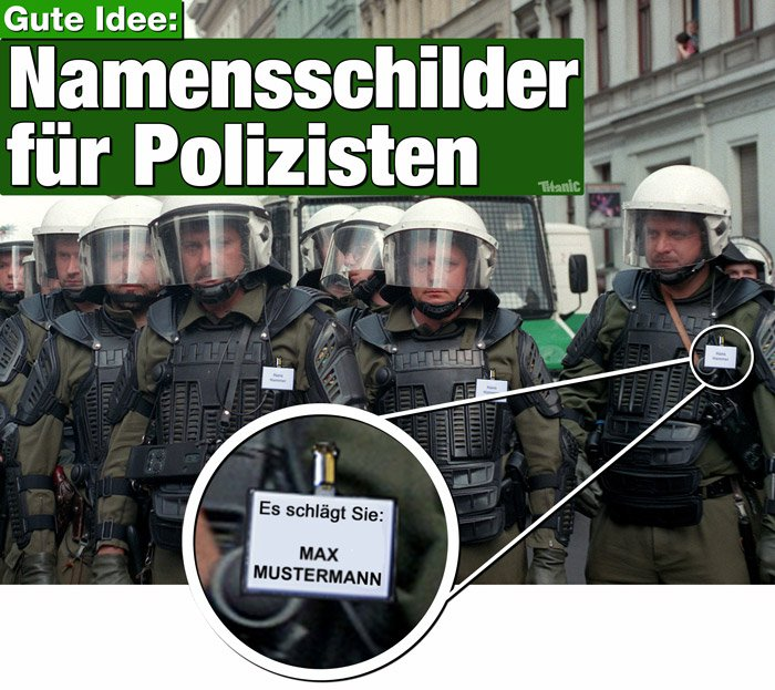 namensschilder f r die polizei realit t schl gt satire. Black Bedroom Furniture Sets. Home Design Ideas